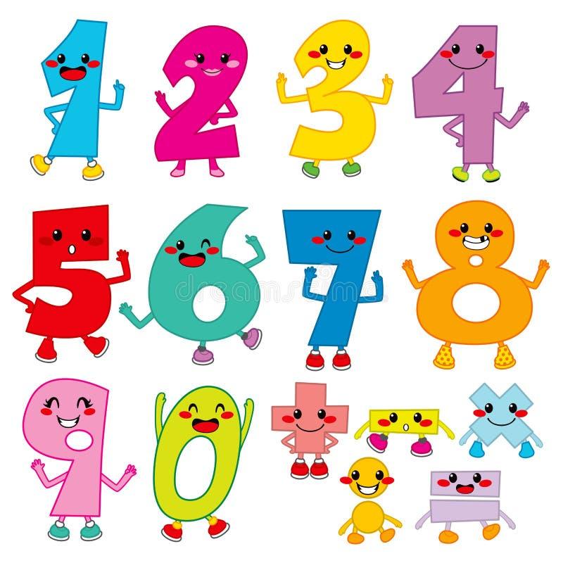 Números engraçados dos desenhos animados ilustração do vetor