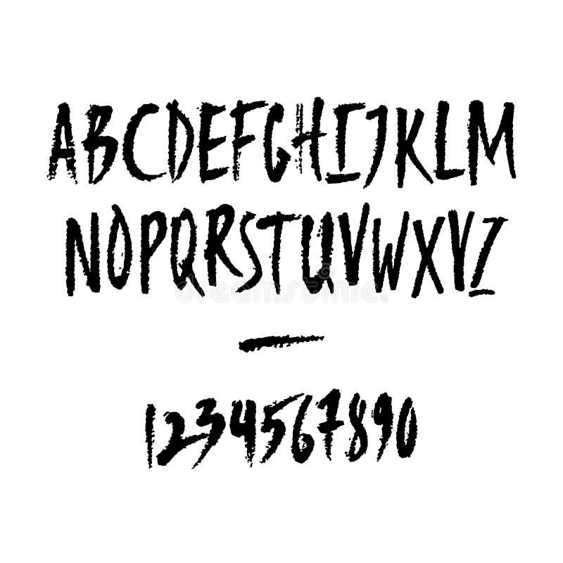 Números escritos a mano del vector y letras mayúsculas libre illustration