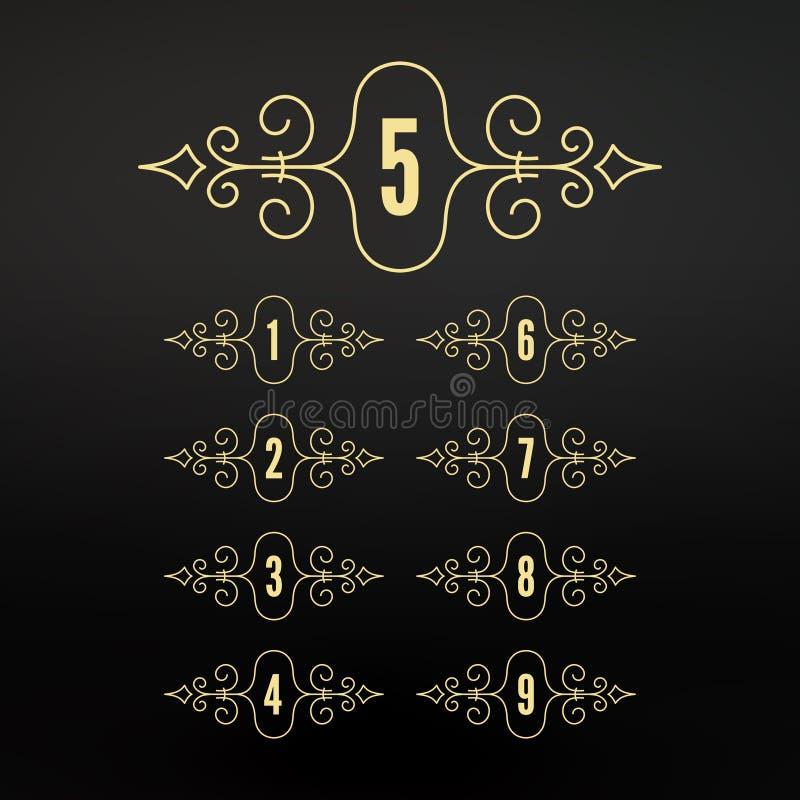 Números fijados Marcos en estilo linear Marco caligráfico de los Flourishes Diseño retro elegante del estilo Ornamento pattern ilustración del vector