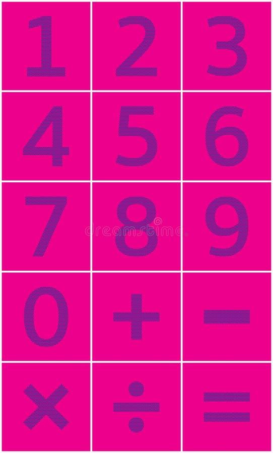 Números fijados y muestras matemáticas de la adición, substracción, multiplicación, división, igualdad stock de ilustración