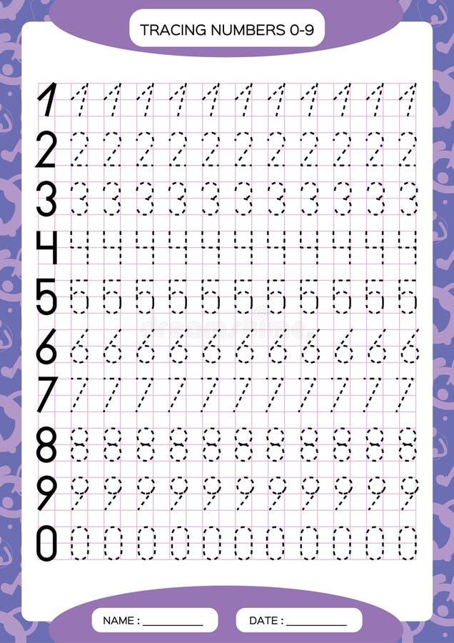 Números 0-9 Folha de seguimento para crianças Folha pré-escolar, habilidades de motor praticando - linhas tracejadas de seguiment ilustração stock