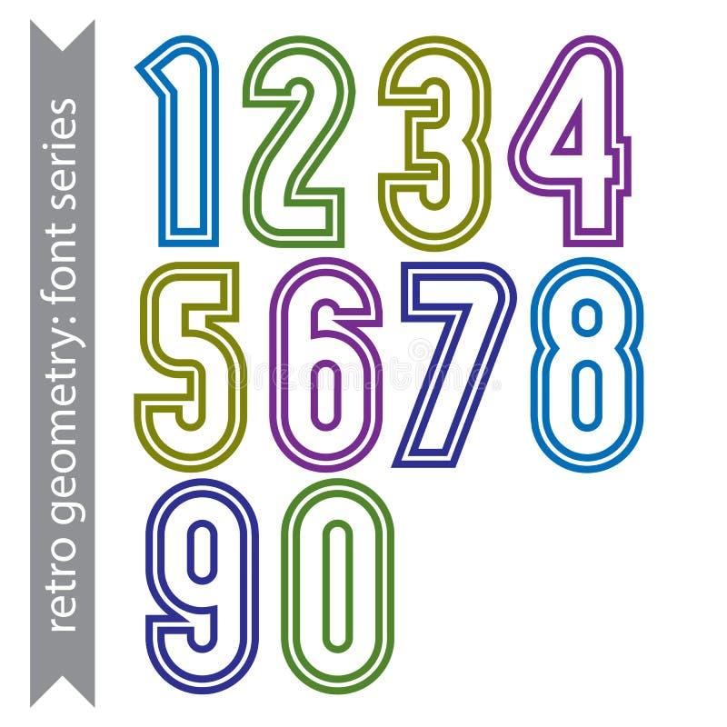 Números geométricos de sans serif, números altos lisos ilustración del vector