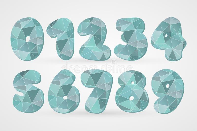 números 1 2 3 4 5 6 7 8 9 0 geométricos poligonais Símbolos engraçados abstratos para a decoração, projeto do triângulo de concei ilustração royalty free