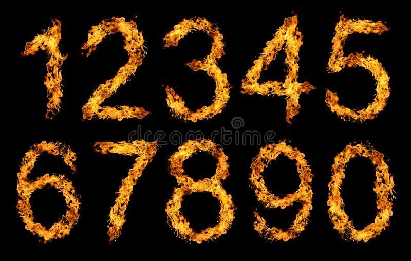 Números hechos de la llama del fuego fotografía de archivo
