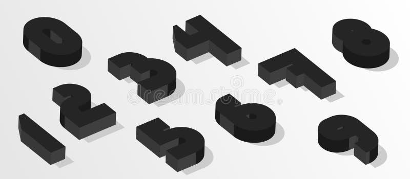 Números isométricos negros números del efecto 3d Números del vector para cualquier diseño de la tipografía ilustración del vector