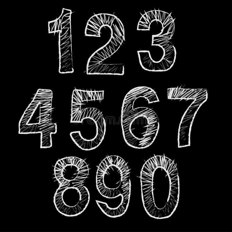 Números a mano Bosquejo de los garabatos stock de ilustración