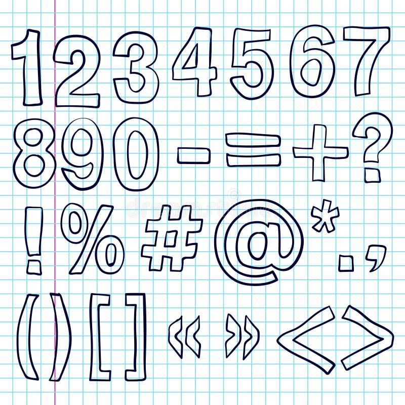 Números a mano Bosquejo de los garabatos ilustración del vector