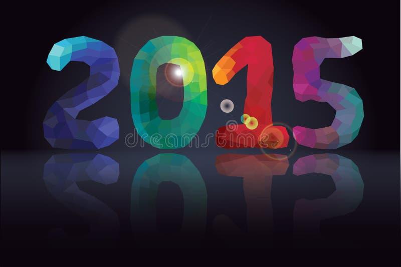 Números multicolores de los polígonos con la reflexión de espejo Año Nuevo 2015 stock de ilustración