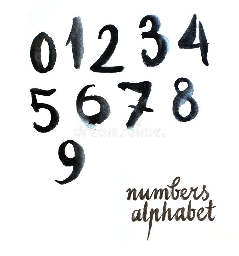 Números negros de la acuarela libre illustration