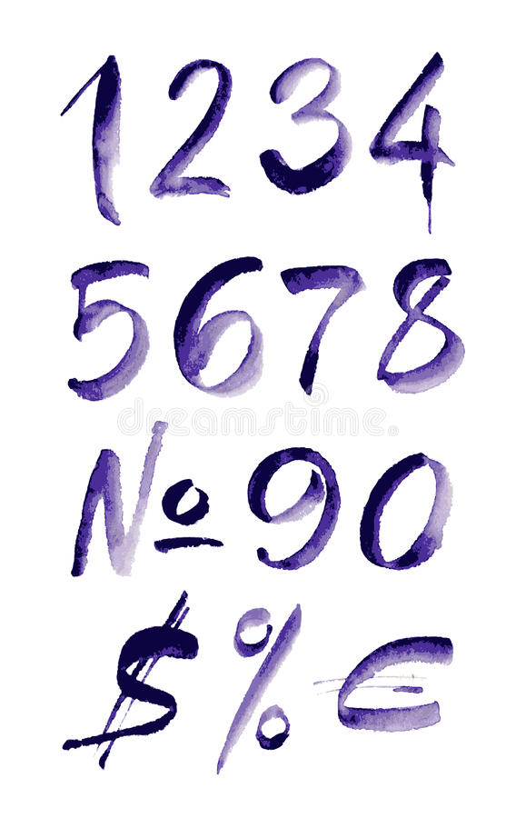 Números púrpuras escritos mano de la acuarela Ilustración del vector libre illustration