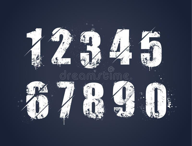 Números pintados sucios del Grunge ilustración del vector