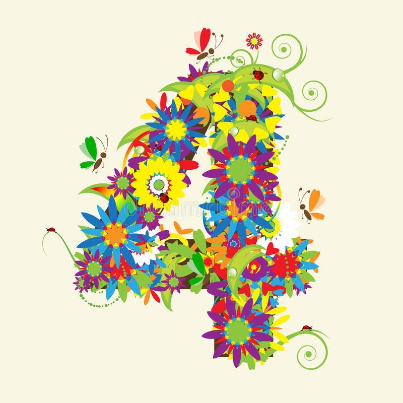 Números, projeto floral. ilustração royalty free