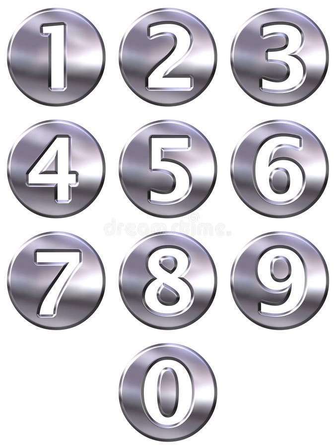 números quadro da prata 3D ilustração do vetor