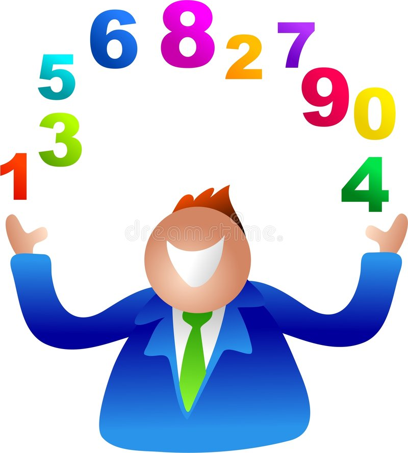 Números que hacen juegos malabares stock de ilustración