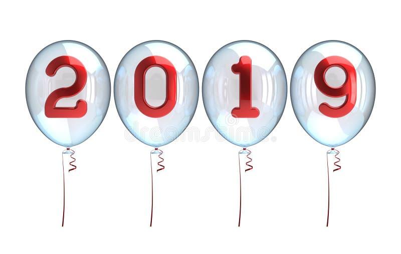 Números rojos brillantes translúcidos blancos de los globos del Año Nuevo 2019 libre illustration