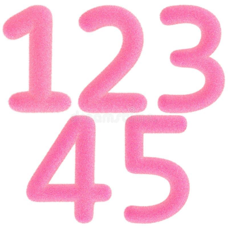 Números rosados peludos ilustración del vector
