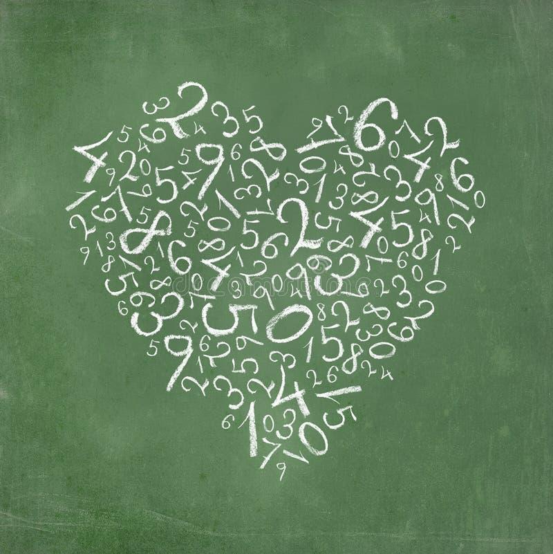 Números simples dados forma coração ilustração stock
