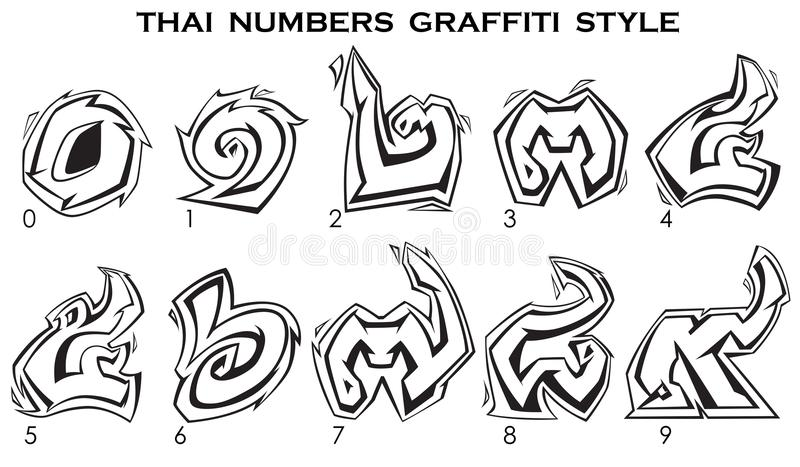 Números tailandeses no estilo dos grafittis de 0 a 9 em preto e branco ilustração stock