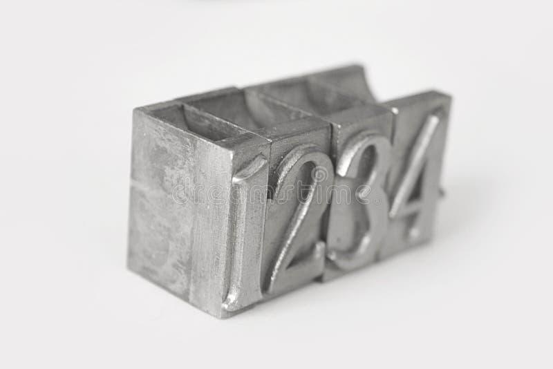 Números tipográficos metálicos imagen de archivo libre de regalías