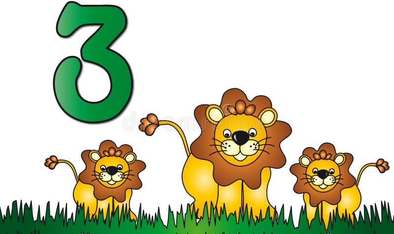 Números: tres ilustración del vector