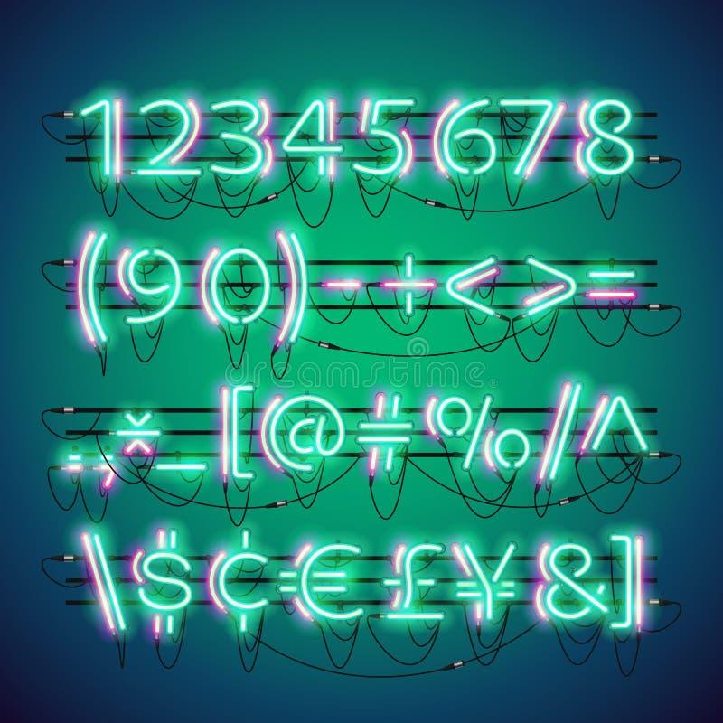 Números verdes de néon dobro de incandescência ilustração stock