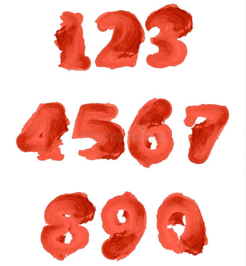 Números vermelhos da aquarela ilustração stock
