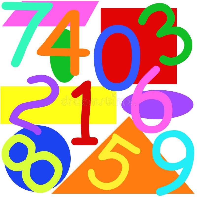 Números y dimensiones de una variable ilustración del vector