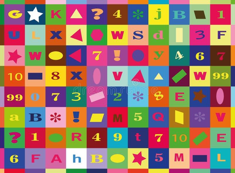 Números y letras, manta moderna de los niños ilustración del vector