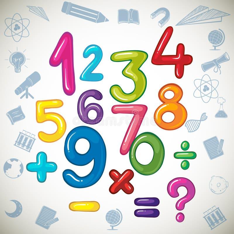 Números y muestras de la matemáticas ilustración del vector