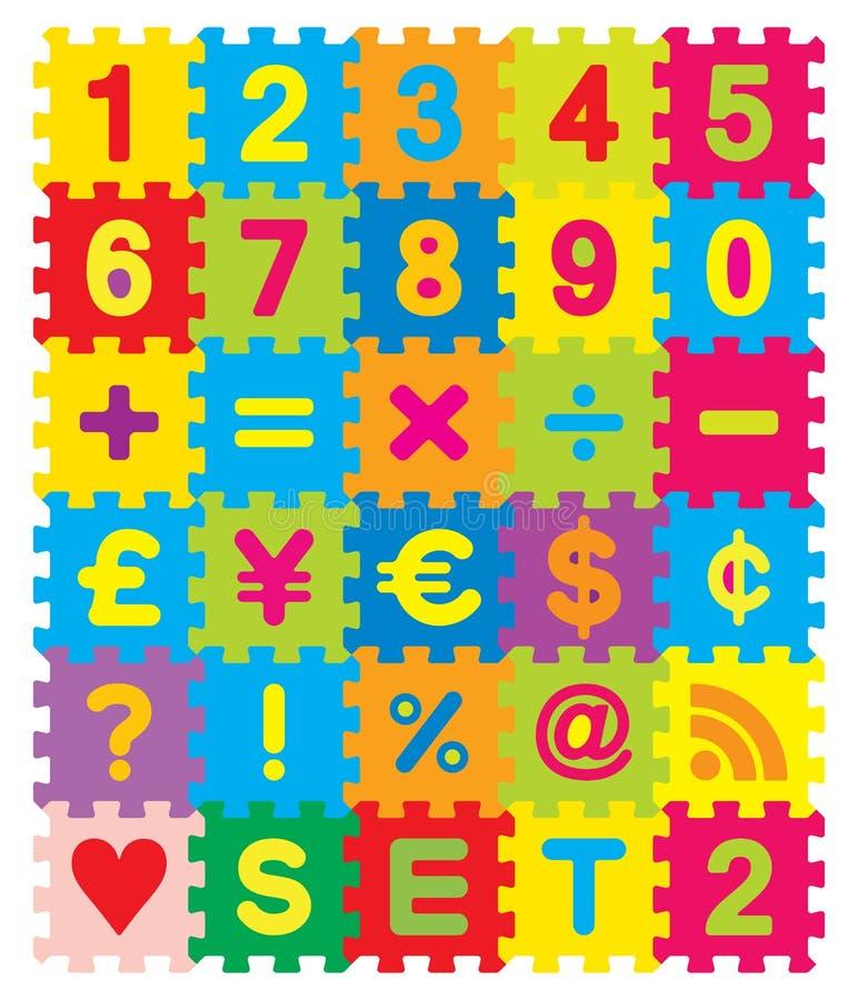 Números y rompecabezas de los símbolos stock de ilustración