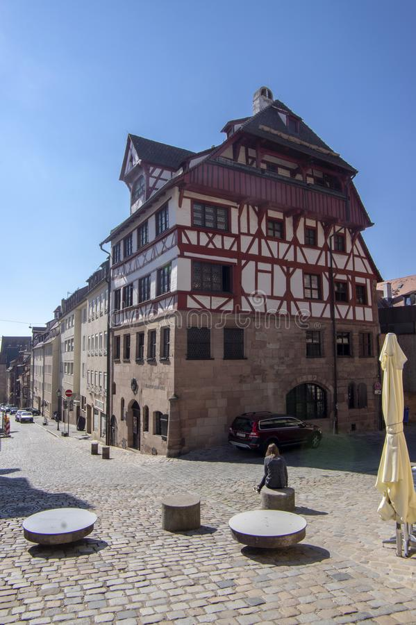 Nürnberg/DEUTSCHLAND - 17. September 2018: Historisches Albrecht Durer-Haus Fachwerkhaus in der deutschen Renaissanceart Bauholz  lizenzfreies stockbild