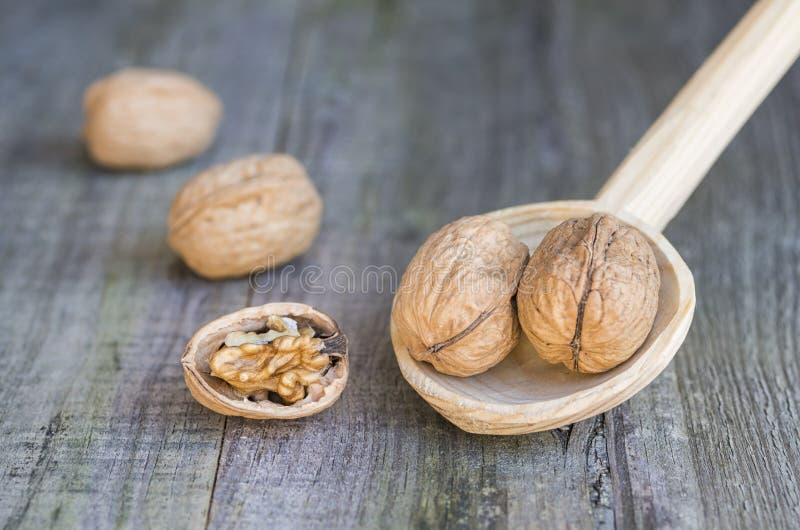 Nüsse auf hölzernem Löffel stockbild