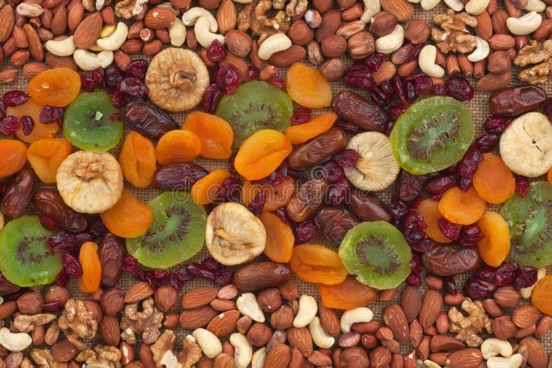 Nüsse und Trockenfrüchte sind auf Leinwand lizenzfreies stockbild