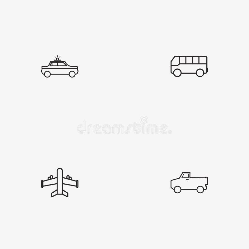 4 nützliche einfache Transportikonen lizenzfreies stockfoto