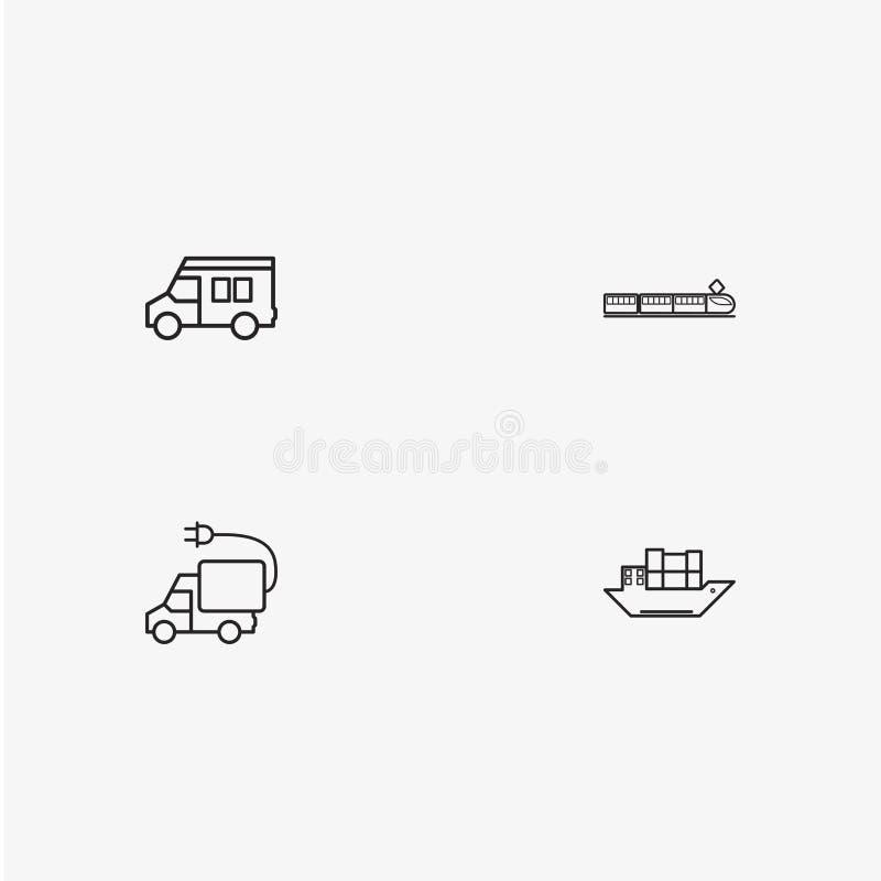 4 nützliche einfache Transportikonen stockfotos