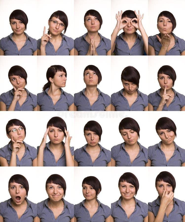 Nützliche Gesichtsausdrücke. Schauspielergesichter. stockfotos