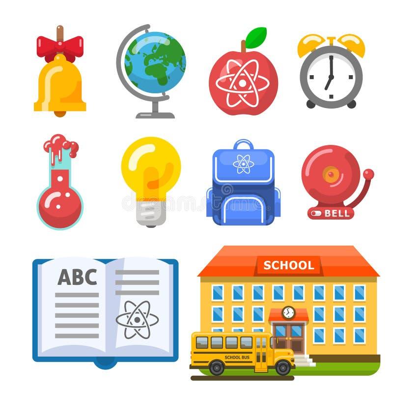 Nützliches Schulgebäude, Bus, Buch und Gegenstände stockfotografie