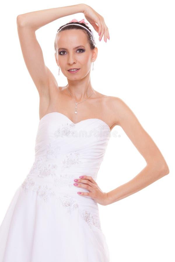 Nęcąca ładna kobiety panna młoda w białej ślubnej sukni zdjęcia royalty free