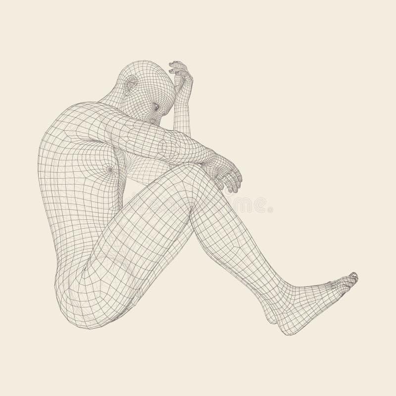 Nędzny Przygnębiony mężczyzna obsiadanie, główkowanie i Mężczyzna w myśliciel pozie 3D model mężczyzna ilustracji