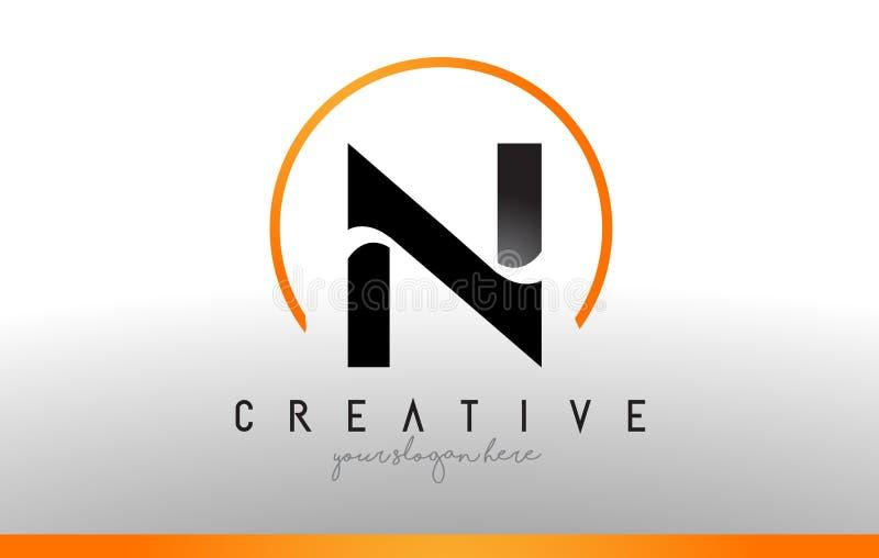 N信件与黑橙色颜色的商标设计 凉快的现代象T 向量例证