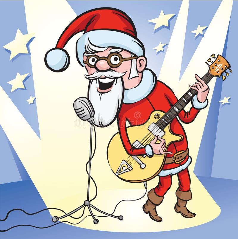 n岩石卷圣诞老人唱歌 皇族释放例证