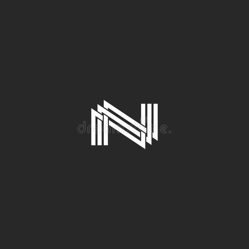 N组合图案信件商标、重叠的稀薄的线、设计元素婚礼邀请、名片或者旅馆象征 向量例证