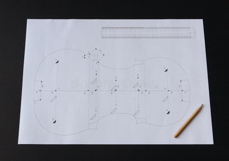 n 1 скрипка делая проект: Мессия 1716 Stradivari, раздел 1 стоковая фотография rf
