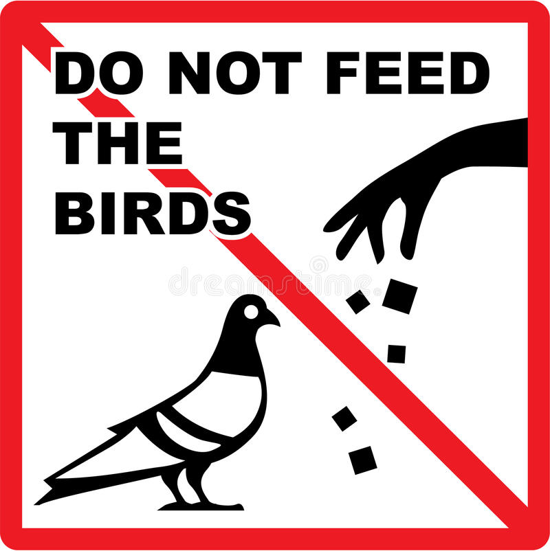 N'alimentez pas aux oiseaux le vecteur de signe illustration de vecteur