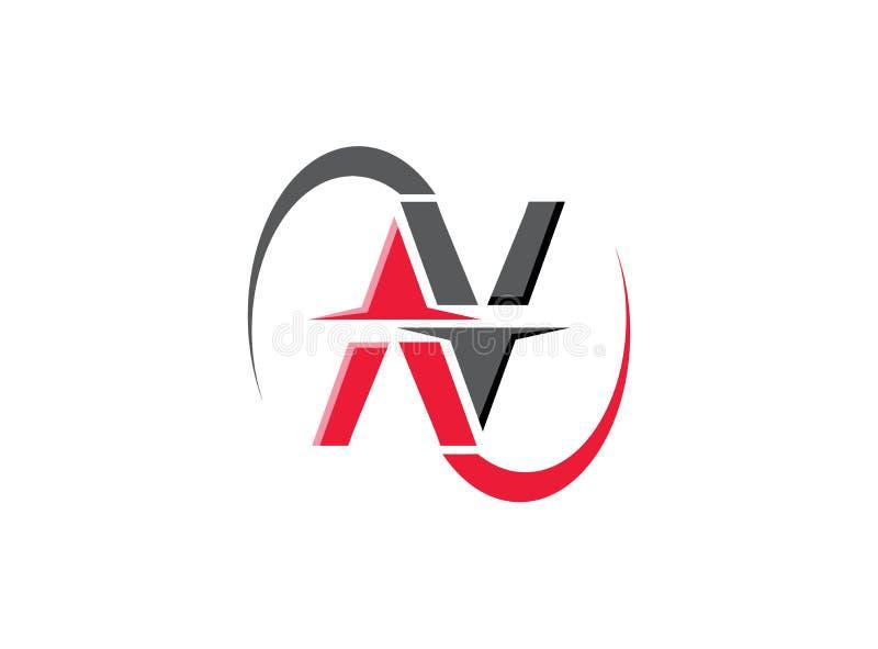 N-Alphabetbuchstabelogo-Entwurfsillustration auf weißem backgroung lizenzfreie abbildung