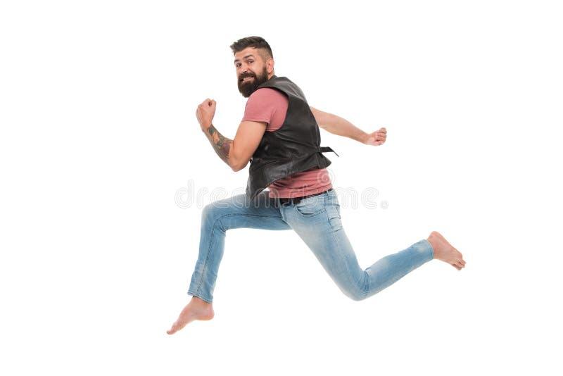 N'arrêtez jamais Course de voleur d'homme loin gardez le concept mobile Hippie barbu de type capturé dans le mouvement courant d' photos stock