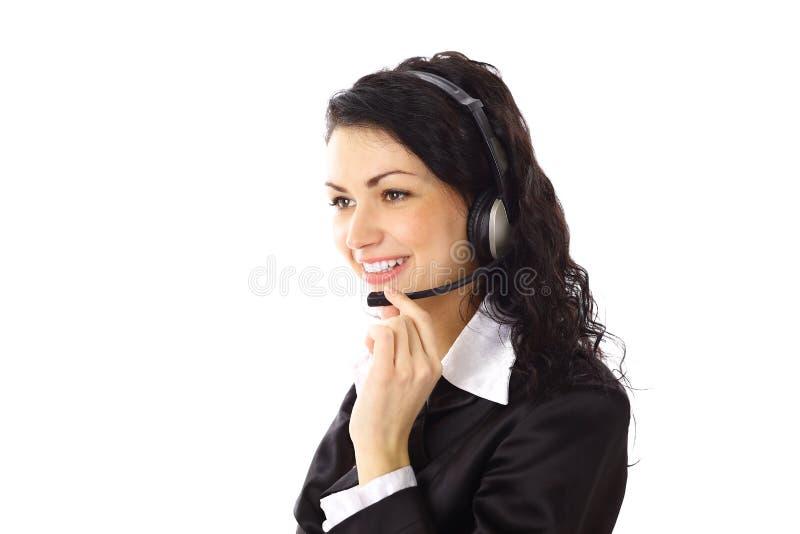 nätt kvinna för affärshörlurar med mikrofon royaltyfri foto