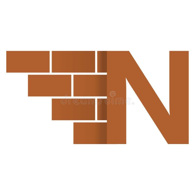 N-bokstavslogo, design för logo för tegelstenvägg med stället för dina data stock illustrationer