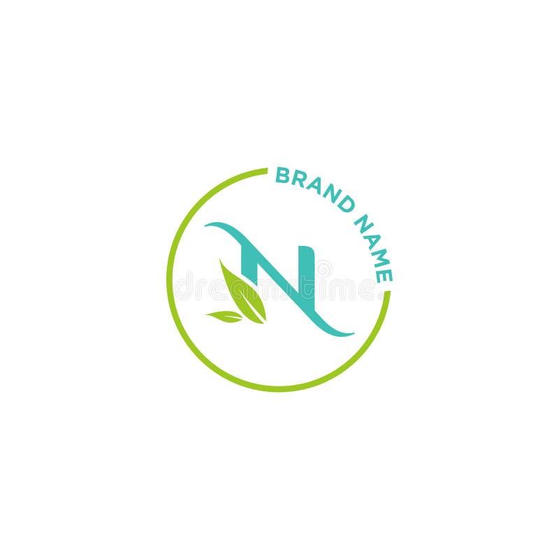 N-bokstavslogo eller initialer för affär stock illustrationer
