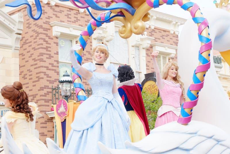 Princess characters of Walt Disney. Are shown in the parade at Hong Kong Disneyland royalty free stock image